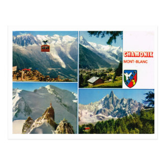 Vintage French alps, Chamonix multiview Postcard