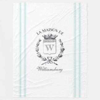 Vintage French Aqua Ticking Family Crest Throw Fleece Blanket