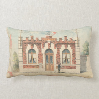 Vintage french architecture catalogue lumbar cushion