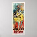 vintage French art nouveau ballet vertical banner Print