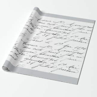VINTAGE FRENCH authentic Handwriting GIFT WRAP