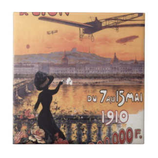 Vintage French Aviation Small Square Tile