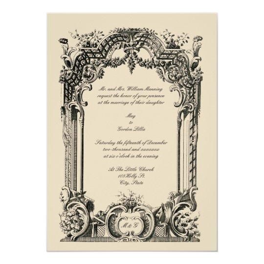 French Vintage Wedding Invitations: Vintage French Baroque Rococo Wedding Invitations