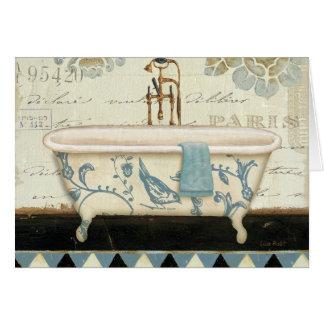 Vintage French Bathtub Greeting Card