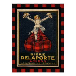 Vintage French Beer Advertising Retro Checkered Poster