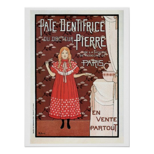 Vintage French Belle epoque toothpaste ad Poster