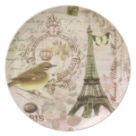 Vintage French bird and Eiffel Tower plate
