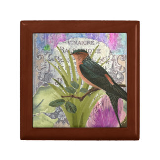 Vintage French Bird Collage Perfume Label Gift Box