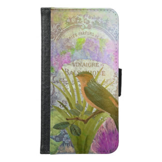 Vintage French Bird Collage Perfume Label Samsung Galaxy S6 Wallet Case