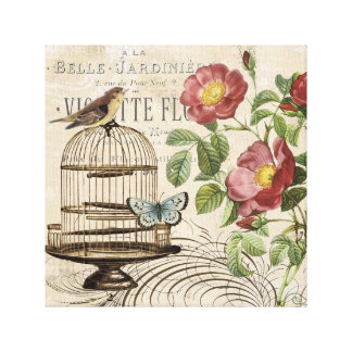 Vintage French birdcage stretched canvas