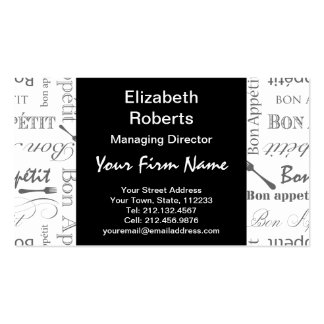 Vintage French Bon Appetit Black and White Pack Of Standard Business Cards