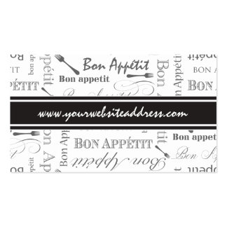 Vintage French Bon Appetit Black and White Double-Sided Standard Business Cards (Pack Of 100)