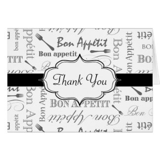 Vintage French Bon Appetit Black and White Greeting Card