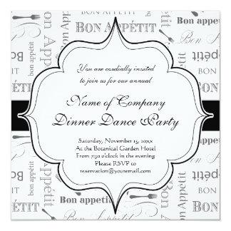 Vintage French Bon Appetit Black and White 5.25x5.25 Square Paper Invitation Card