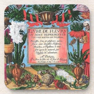 Vintage French Botanical Illustrated Book Beverage Coasters