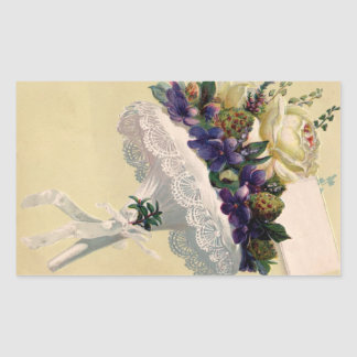 Vintage French Bouquet Flowers Love Note Rectangular Stickers