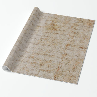 Vintage French Brown Tan Text Old Parchment Paper Gift Wrap