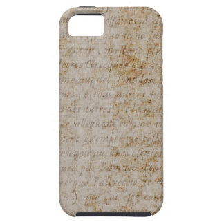 Vintage French Brown Tan Text Parchment Paper iPhone 5 Case