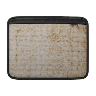 Vintage French Brown Tan Text Parchment Paper MacBook Sleeve