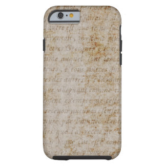 Vintage French Brown Tan Text Parchment Paper Tough iPhone 6 Case