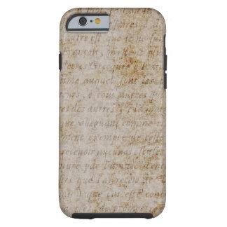 Vintage French Brown Tan Text Parchment Paper Tough iPhone 6 Case