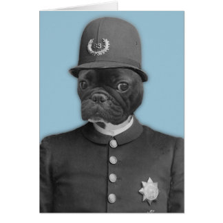 Vintage French Bulldog Policeman Card
