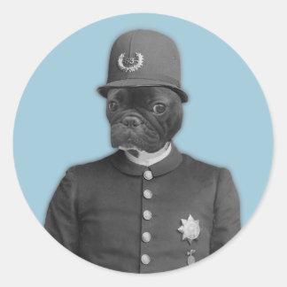 Vintage French Bulldog Policeman Classic Round Sticker