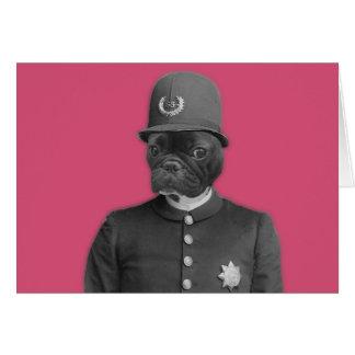 Vintage French Bulldog Policeman Greeting Card