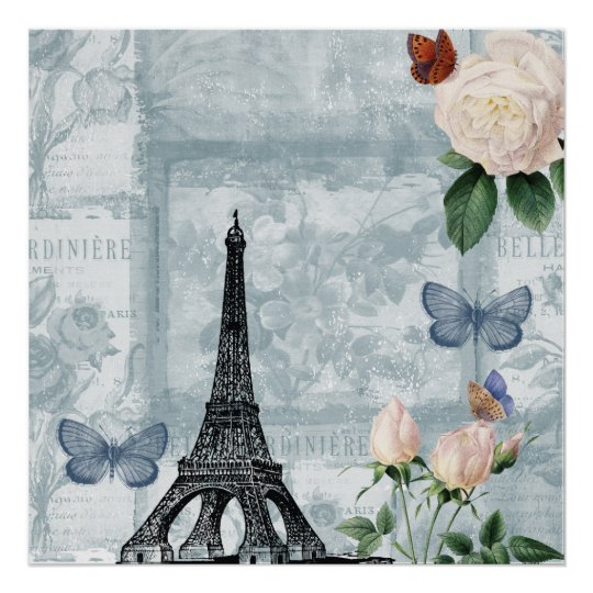 Vintage French Butterflies and Roses Poster
