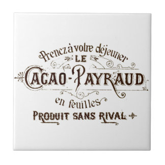 Vintage French Cacao label art tile