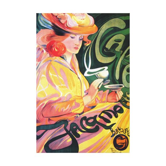VINTAGE FRENCH CAFE POSTERART WRAPPED CANVAS