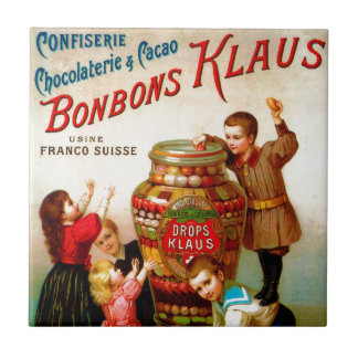 Vintage French Candy advertising illustration Tile