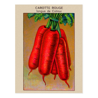 Vintage French Carrote Red Carrot Seed Package Art Postcard