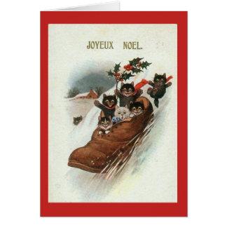 Vintage French Cats Christmas Card - Joyeux Noel