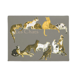 Vintage French Cats Les Chats Art Doormat