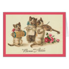 Vintage French Cats New Year Greeting Card