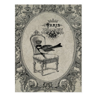 Vintage French chair postcard