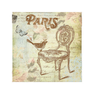 Vintage French chair stretched canvas