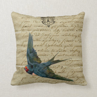 Vintage French Chic Bird Print Flying Swallow Throw Pillow