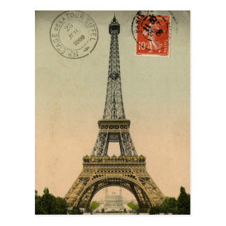 Vintage French Chic Eiffel Tower Paris Postcard