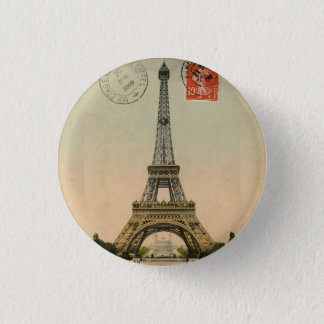Vintage French Chic Eiffel Tower Paris Postcard 3 Cm Round Badge