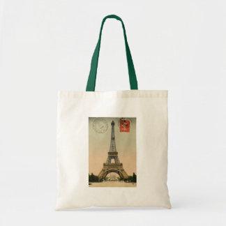 Vintage French Chic Eiffel Tower Paris Postcard Bag