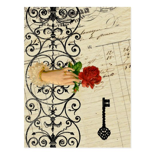 Vintage french chic noir mystery hand Iron gate Postcard
