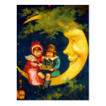 Vintage French Children sitting on moon cute Postcard
