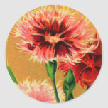 Vintage French China Carnation Flower Seed Package Round Sticker
