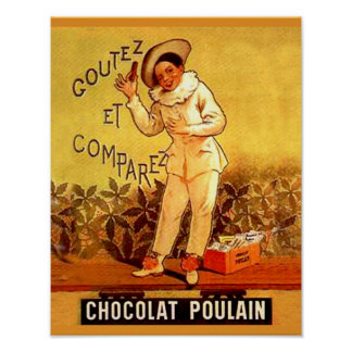 Vintage French Chocolate Clown Party Games Poster