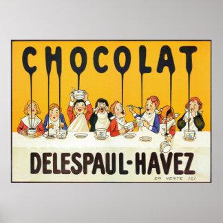Vintage French Chocolate Kids Kitchen Art Poster