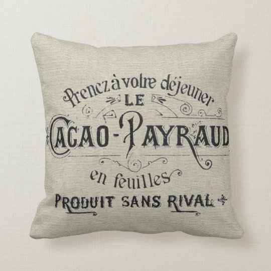 Vintage French Chocolate Linen Throw Pillow