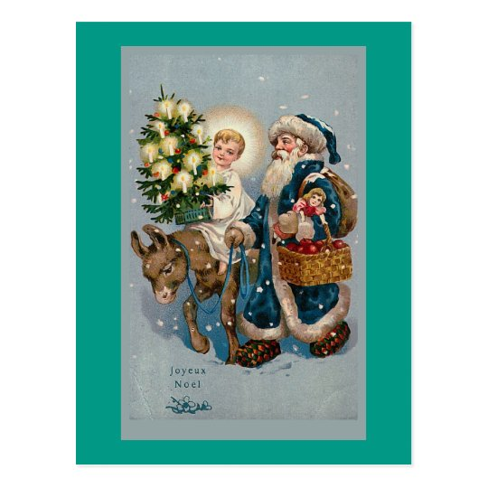 Vintage French Christmas Card Postcard