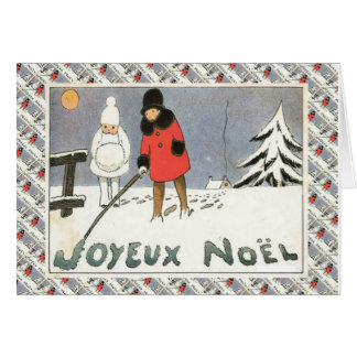 Vintage French Christmas, Children in the snow Card